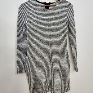 Longsleeve Black and White Stripped Formal Dress